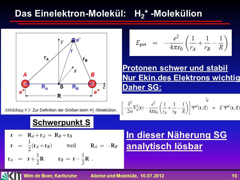 Wim de Boer, Karlsruhe Atome und Moleküle, 10.07.2012 10 Das Einelektron-Molekül: H 2 + -Molekülion Schwerpunkt S Protonen schwer und stabil Nur Ekin.