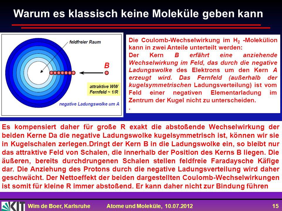 Wim de Boer, Karlsruhe Atome und Moleküle, 10.07.2012 15 Die Coulomb-Wechselwirkung im H 2 -Molekülion kann in zwei Anteile unterteilt werden: Der Ker