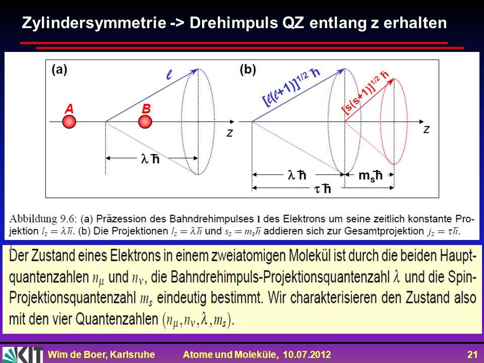 Wim de Boer, Karlsruhe Atome und Moleküle, 10.07.2012 21 Zylindersymmetrie -> Drehimpuls QZ entlang z erhalten