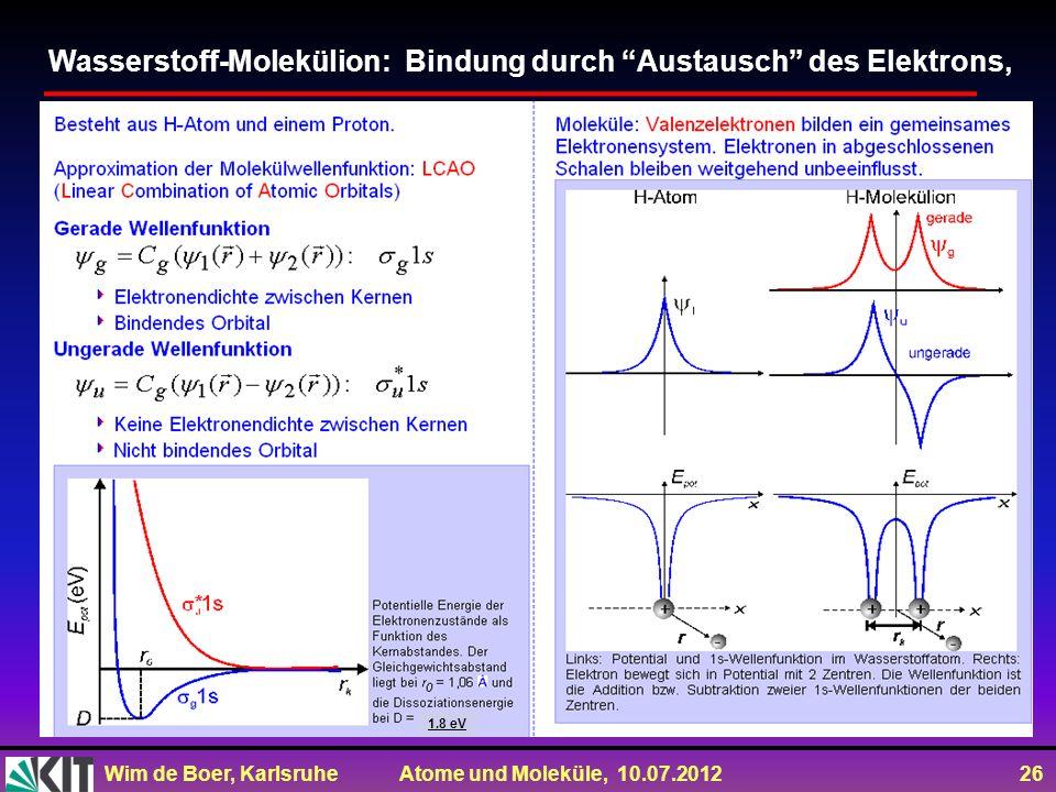 Wim de Boer, Karlsruhe Atome und Moleküle, 10.07.2012 26 Wasserstoff-Molekülion: Bindung durch Austausch des Elektrons, 1.8 eV