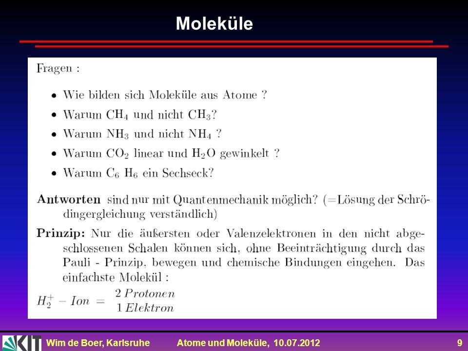 Wim de Boer, Karlsruhe Atome und Moleküle, 10.07.2012 9 Moleküle