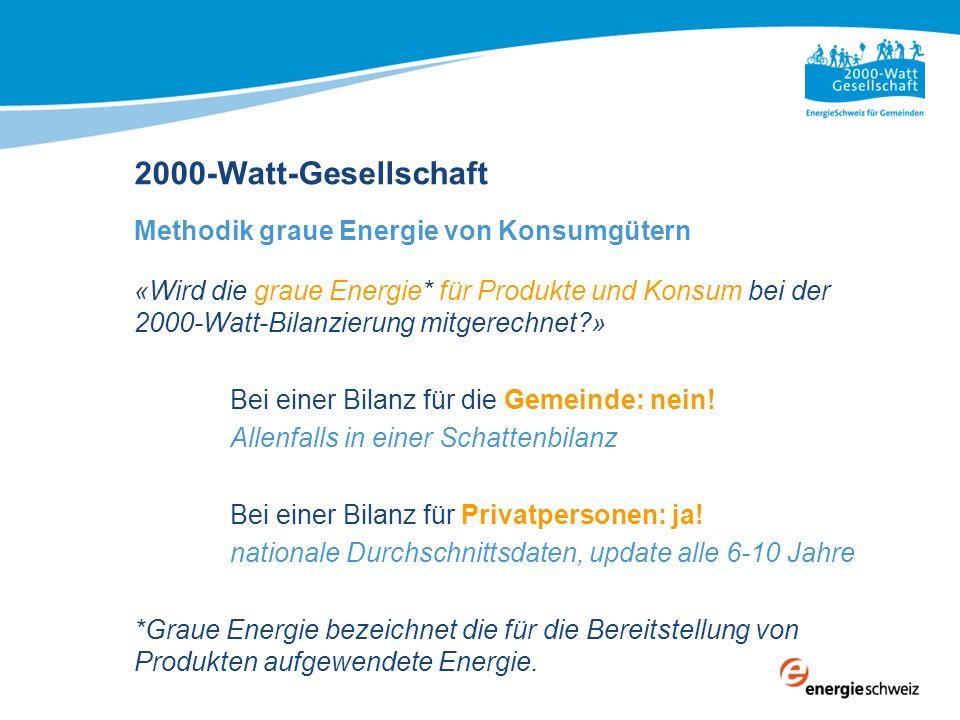 «Wird die graue Energie* für Produkte und Konsum bei der 2000-Watt-Bilanzierung mitgerechnet?» Bei einer Bilanz für die Gemeinde: nein! Allenfalls in