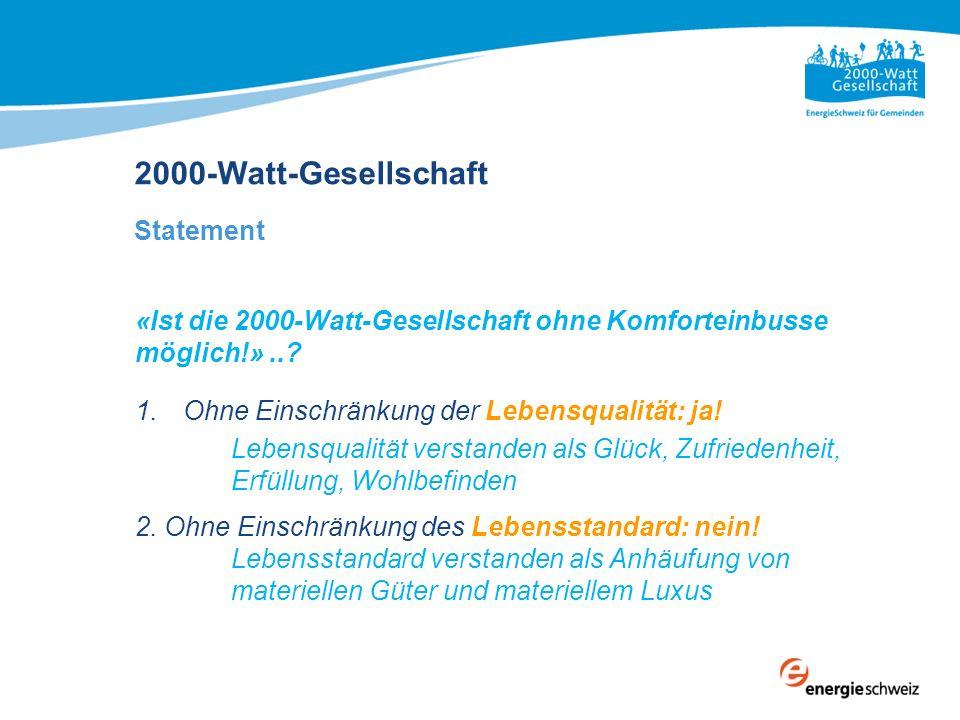 «Ist die 2000-Watt-Gesellschaft ohne Komforteinbusse möglich!»..? 1.Ohne Einschränkung der Lebensqualität: ja! Lebensqualität verstanden als Glück, Zu