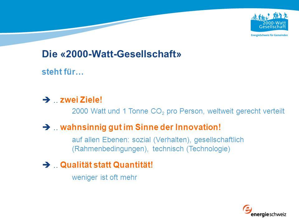 Die «2000-Watt-Gesellschaft» steht für….. zwei Ziele! 2000 Watt und 1 Tonne CO 2 pro Person, weltweit gerecht verteilt.. wahnsinnig gut im Sinne der I