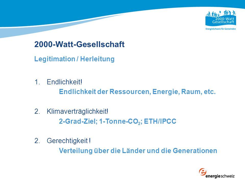 2000-Watt-Gesellschaft Legitimation / Herleitung 1.Endlichkeit! Endlichkeit der Ressourcen, Energie, Raum, etc. 2.Klimaverträglichkeit! 2-Grad-Ziel; 1