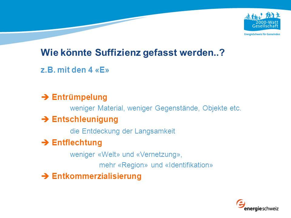 2000-Watt-Gesellschaft Grundsätzliche und übergeordnete Ziele für die Schweiz 3 mal weniger Energieverbrauch 8 mal weniger CO 2 -Ausstoss und zwar für alle: Haushalte, Städte, Gemeinden, Kantone Gewerbe, Industrie Gebäude, Mobilität, Wärme, Strom