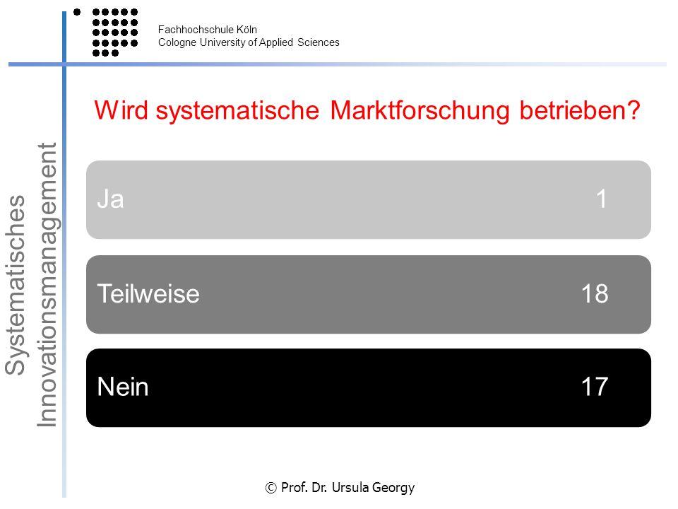 Fachhochschule Köln Cologne University of Applied Sciences © Prof. Dr. Ursula Georgy Wird systematische Marktforschung betrieben? Ja 1Teilweise 18Nein