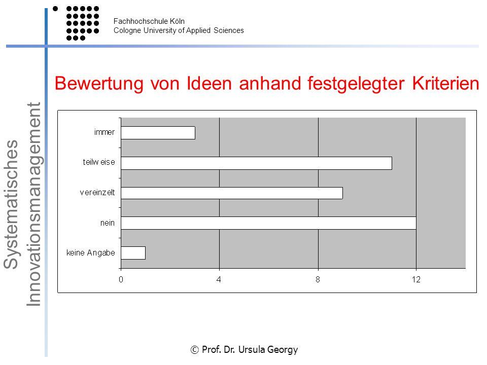 Fachhochschule Köln Cologne University of Applied Sciences © Prof. Dr. Ursula Georgy Bewertung von Ideen anhand festgelegter Kriterien Systematisches