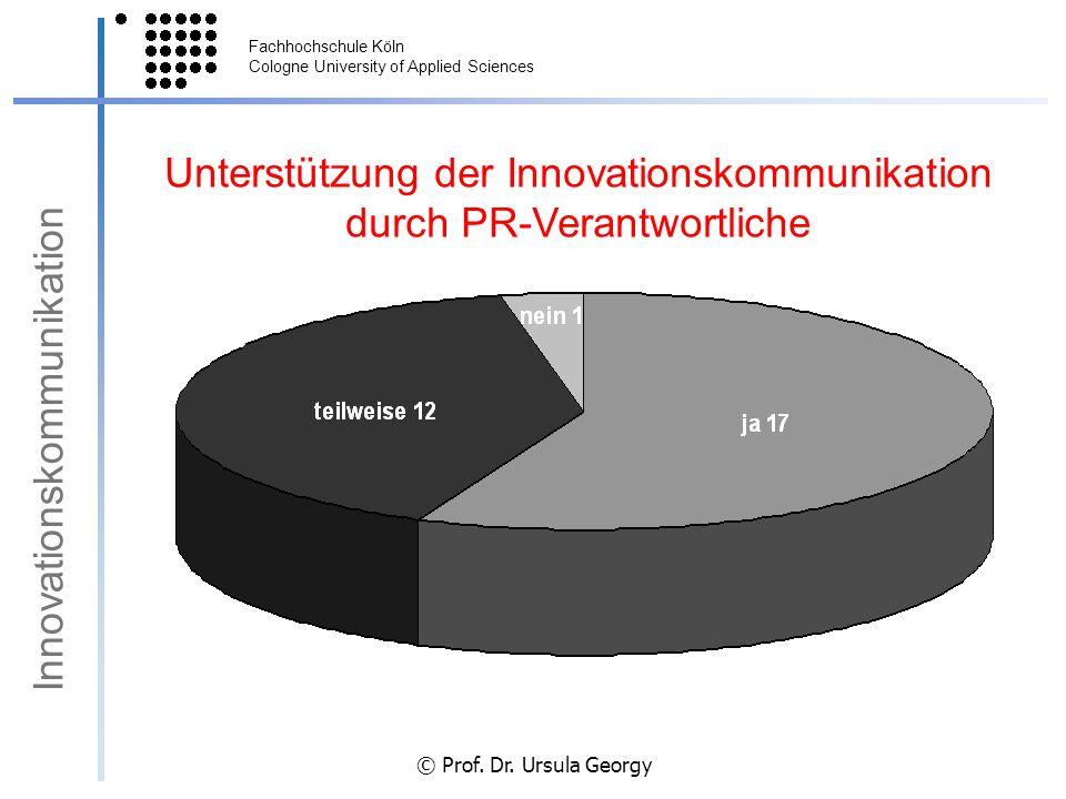 Fachhochschule Köln Cologne University of Applied Sciences © Prof. Dr. Ursula Georgy Unterstützung der Innovationskommunikation durch PR-Verantwortlic