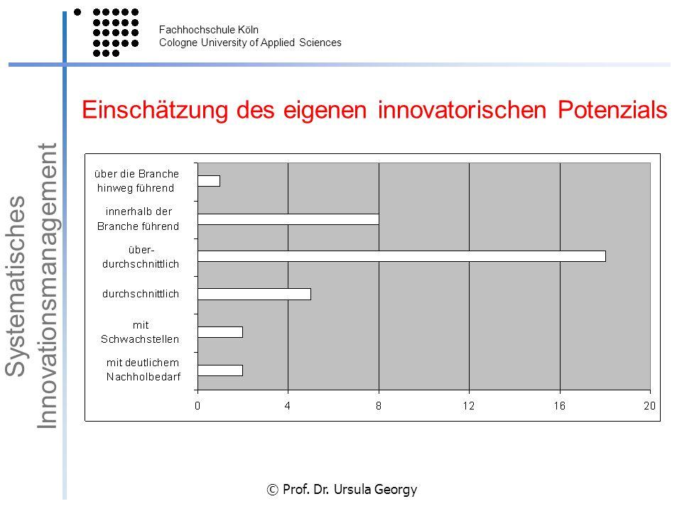 Fachhochschule Köln Cologne University of Applied Sciences © Prof. Dr. Ursula Georgy Einschätzung des eigenen innovatorischen Potenzials Systematische