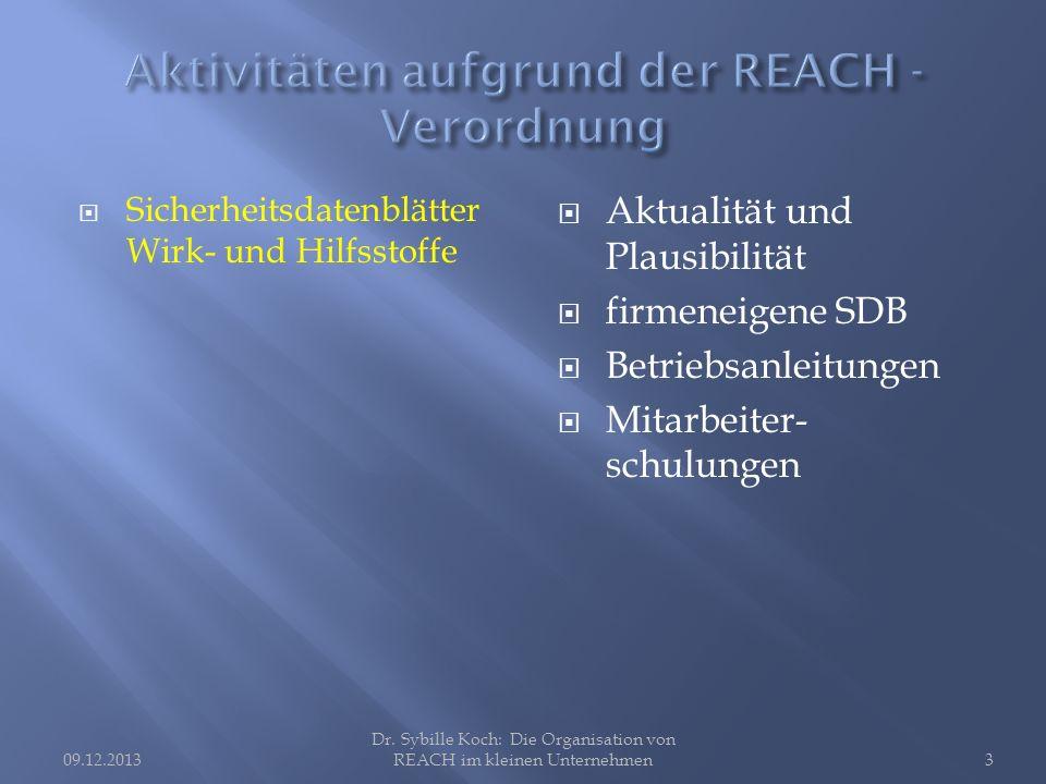 Sicherheitsdatenblätter Wirk- und Hilfsstoffe Aktualität und Plausibilität firmeneigene SDB Betriebsanleitungen Mitarbeiter- schulungen Dr.