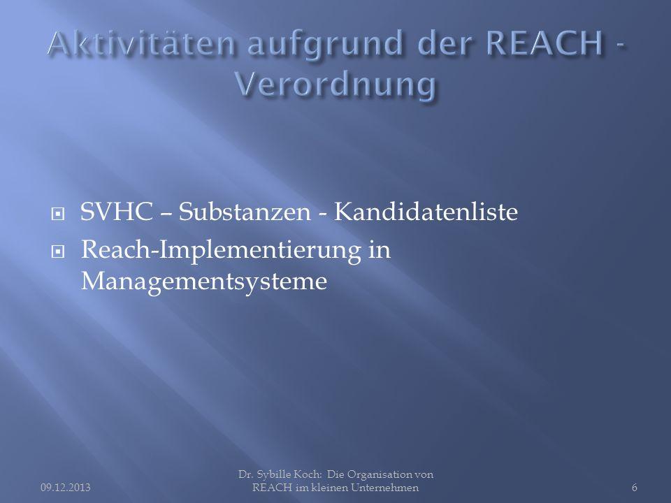 SVHC – Substanzen - Kandidatenliste Reach-Implementierung in Managementsysteme Dr.