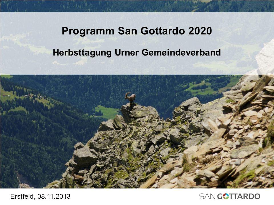 Programm San Gottardo 2020 Herbsttagung Urner Gemeindeverband Erstfeld, 08.11.2013
