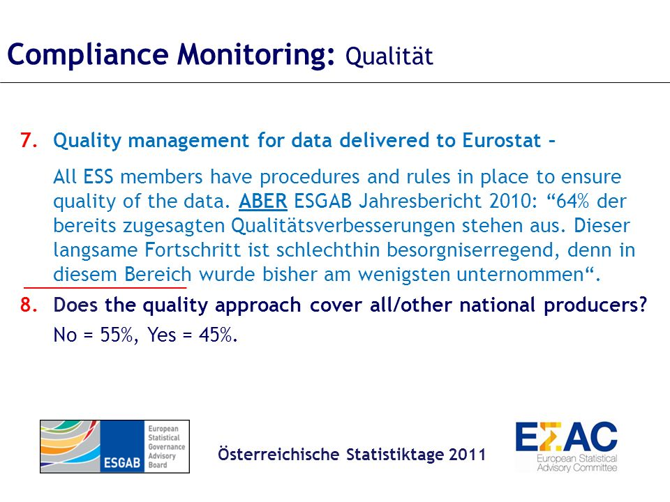 Compliance Monitoring: Qualität 7.Quality management for data delivered to Eurostat – All ESS members have procedures and rules in place to ensure quality of the data.