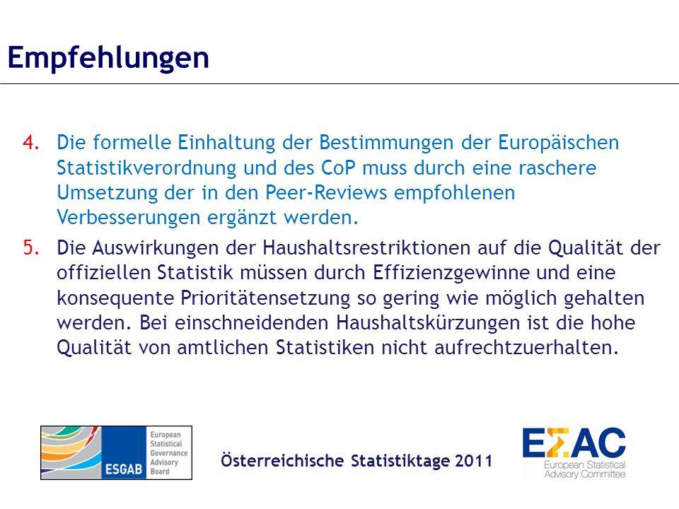 4.Die formelle Einhaltung der Bestimmungen der Europäischen Statistikverordnung und des CoP muss durch eine raschere Umsetzung der in den Peer-Reviews empfohlenen Verbesserungen ergänzt werden.