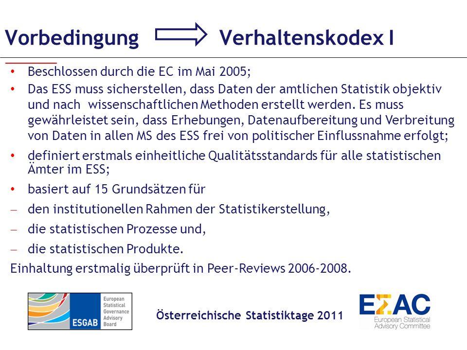 Vorbedingung Verhaltenskodex II 1: Fachliche Unabhängigkeit 2: Auftrag zur Datenerhebung 3: Angemessene Ressourcen I.
