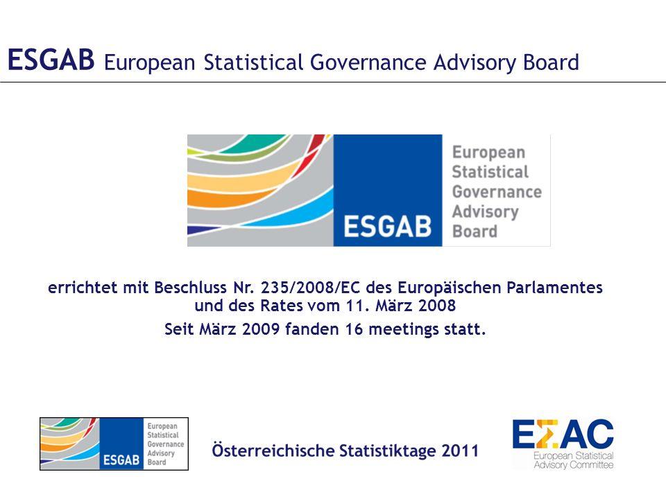 ESGAB European Statistical Governance Advisory Board errichtet mit Beschluss Nr.