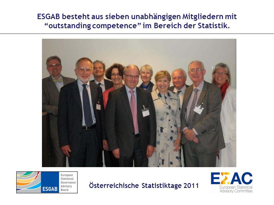 Mandat Aufgabe des ESGAB ist die unabhängige Überwachung der Umsetzung des Verhaltenskodex (Kodex) für europäische Statistiken innerhalb des Europäischen Statistischen Systems; Beratung der Kommission in Bezug auf geeignete Maßnahmen zur Erleichterung der Durchführung des Kodex; Beratung Eurostats in Bezug auf die Vermittlung des Kodex an Nutzer und Datenlieferanten; Beratung Eurostats und des ESSC in Bezug auf die Aktualisierung des Kodex; Die Beratung Eurostats in Angelegenheiten, die das Vertrauen der Nutzer in die europäische Statistik betreffen.