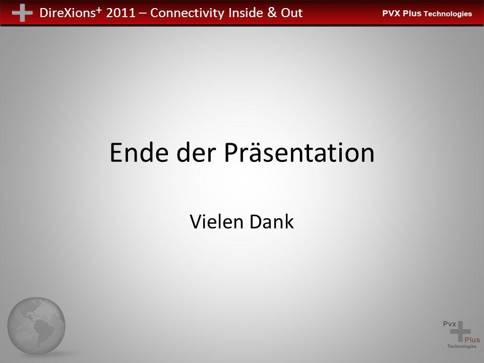 DireXions + 2011 – Connectivity Inside & Out Ende der Präsentation Vielen Dank