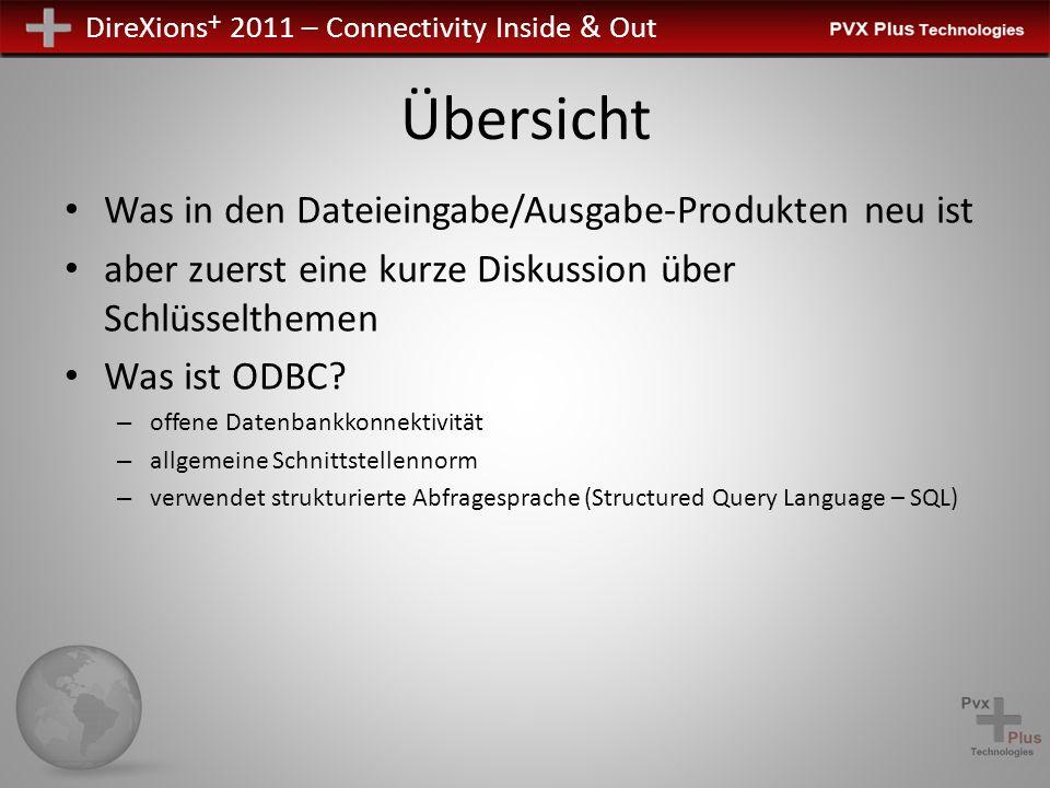 DireXions + 2011 – Connectivity Inside & Out Übersicht PxPlus ODBC-Treiber – PxPlus Implementierung von ODBC-API – Ermöglicht Programmen, die ODBC-Schnittstelle verwenden, sich mit PxPlus Daten zu verbinden – Lokale oder entfernte Nutzung des Dateiservers PxPlus Dateiserver – Zugang PxPlus Daten auf fernen Rechnern PVKIO Library – PxPlus Dateieingabe/Ausgabe-Bibliothek, um auf PxPlus Daten zuzugreifen – Lokale oder entfernte Nutzung des Dateiservers