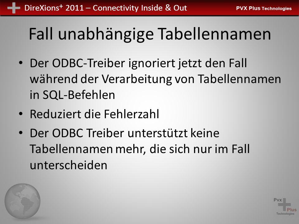 DireXions + 2011 – Connectivity Inside & Out Fall unabhängige Tabellennamen Der ODBC-Treiber ignoriert jetzt den Fall während der Verarbeitung von Tabellennamen in SQL-Befehlen Reduziert die Fehlerzahl Der ODBC Treiber unterstützt keine Tabellennamen mehr, die sich nur im Fall unterscheiden