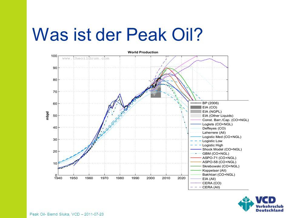 Peak Oil- Bernd Sluka, VCD – 2011-07-23 90% aller industriell gefertigten Produkte über 90% der Energie im Verkehr Abhängigkeiten Quelle: www.weltderphysik.de Energieverbrauch im Verkehr in Deutschland