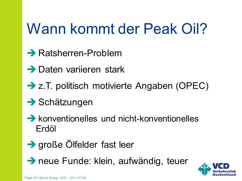 Peak Oil- Bernd Sluka, VCD – 2011-07-23 90% aller industriell gefertigten Produkte über 90% der Energie im Verkehr Transport großer Warenmengen/weite Strecken Siedlungsstruktur und Lebensstil Unser Wirtschafts- und Gesellschaftssystem hängen von der Verfügbarkeit preiswerten Erdöls ab.
