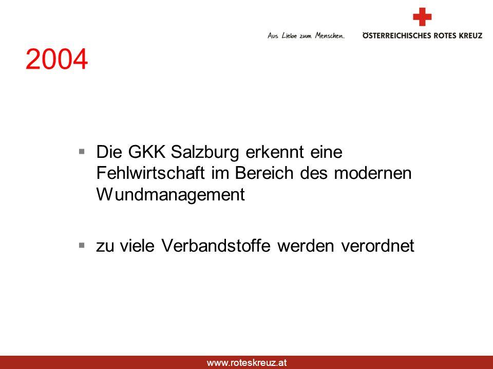 www.roteskreuz.at 2004 Die GKK Salzburg erkennt eine Fehlwirtschaft im Bereich des modernen Wundmanagement zu viele Verbandstoffe werden verordnet