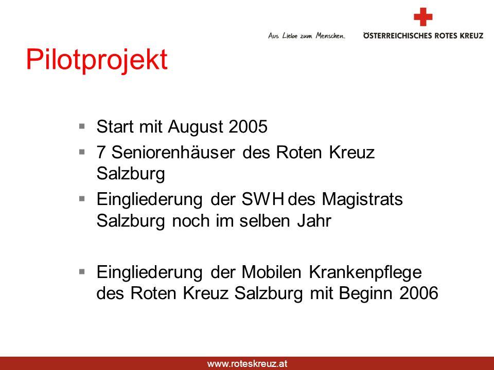 www.roteskreuz.at Pilotprojekt Start mit August 2005 7 Seniorenhäuser des Roten Kreuz Salzburg Eingliederung der SWH des Magistrats Salzburg noch im s