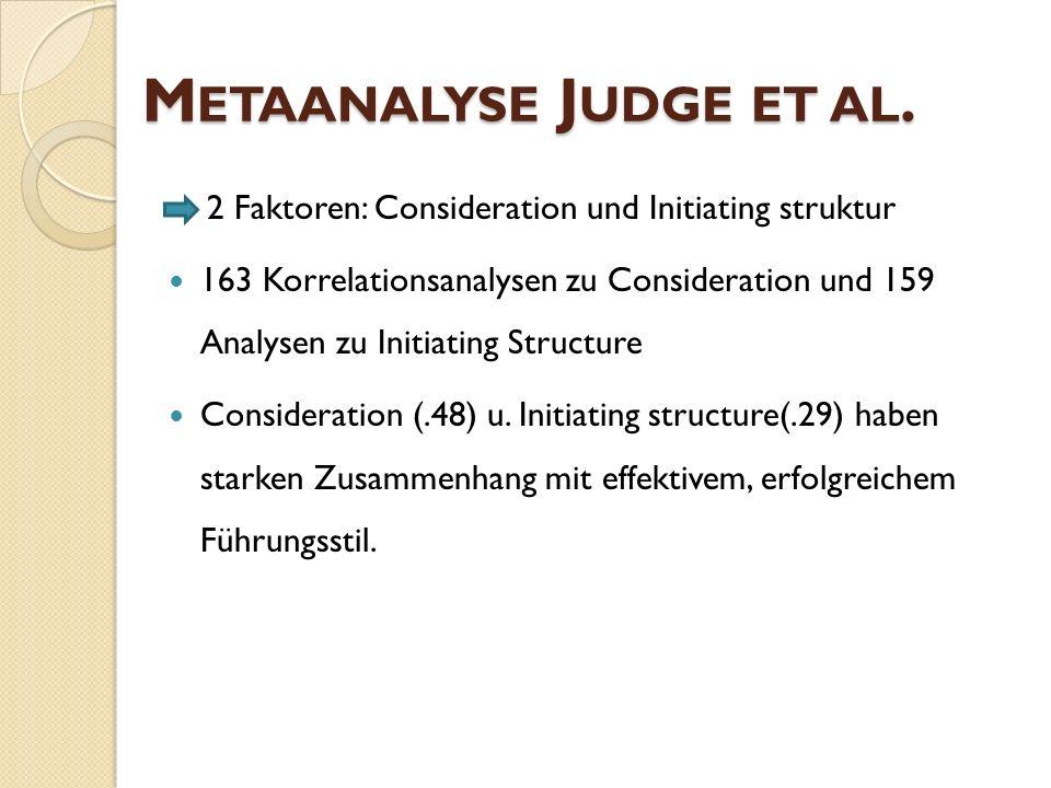 M ETAANALYSE J UDGE ET AL. 2 Faktoren: Consideration und Initiating struktur 163 Korrelationsanalysen zu Consideration und 159 Analysen zu Initiating