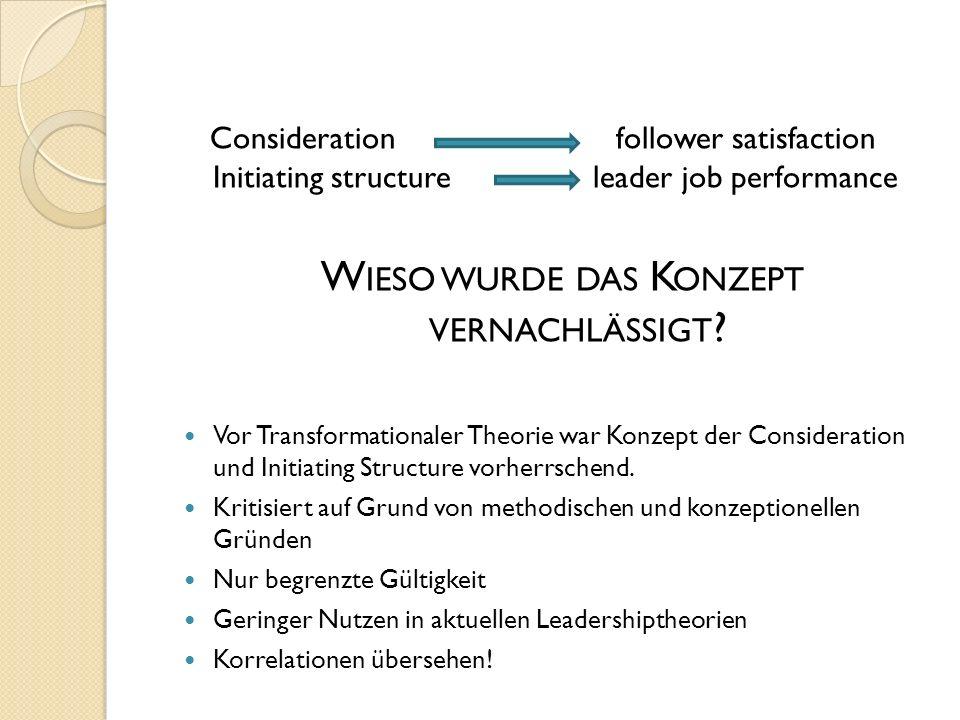 Consideration follower satisfaction Initiating structure leader job performance W IESO WURDE DAS K ONZEPT VERNACHLÄSSIGT ? Vor Transformationaler Theo