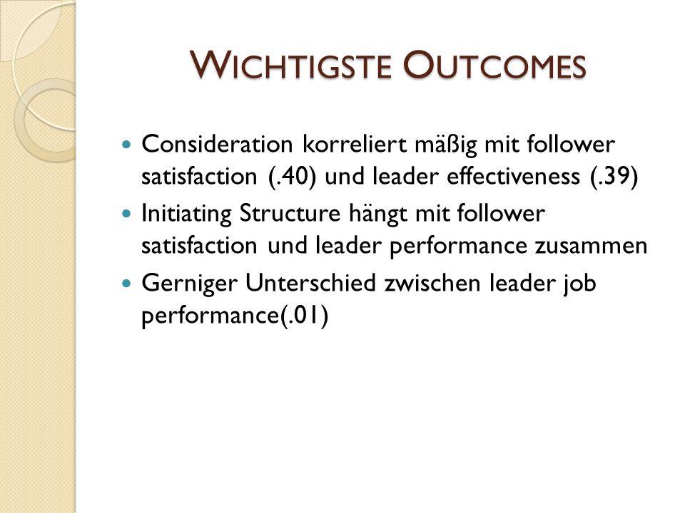 W ICHTIGSTE O UTCOMES Consideration korreliert mäßig mit follower satisfaction (.40) und leader effectiveness (.39) Initiating Structure hängt mit fol