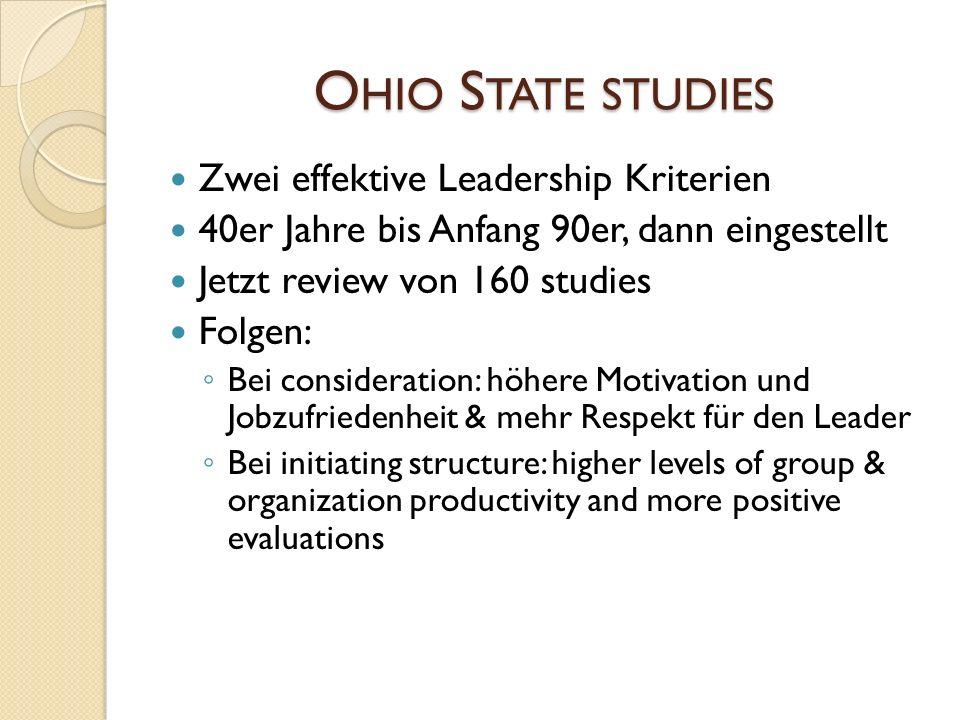 O HIO S TATE STUDIES Zwei effektive Leadership Kriterien 40er Jahre bis Anfang 90er, dann eingestellt Jetzt review von 160 studies Folgen: Bei conside