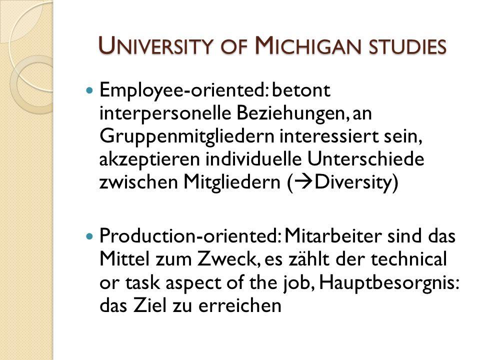 U NIVERSITY OF M ICHIGAN STUDIES Employee-oriented: betont interpersonelle Beziehungen, an Gruppenmitgliedern interessiert sein, akzeptieren individue