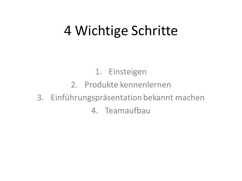 4 Wichtige Schritte 1.Einsteigen 2.Produkte kennenlernen 3.Einführungspräsentation bekannt machen 4.Teamaufbau