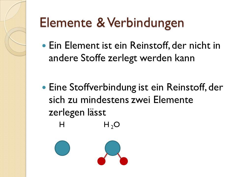 Elemente & Verbindungen Ein Element ist ein Reinstoff, der nicht in andere Stoffe zerlegt werden kann Eine Stoffverbindung ist ein Reinstoff, der sich
