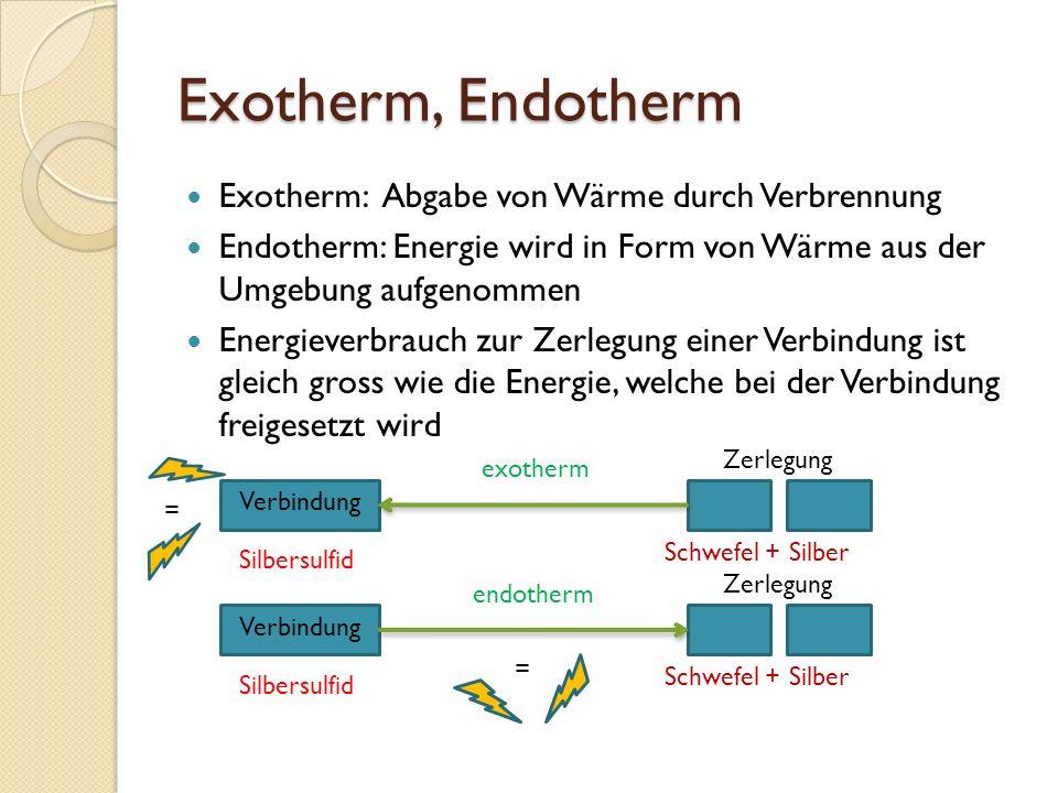 Exotherm, Endotherm Exotherm: Abgabe von Wärme durch Verbrennung Endotherm: Energie wird in Form von Wärme aus der Umgebung aufgenommen Energieverbrau