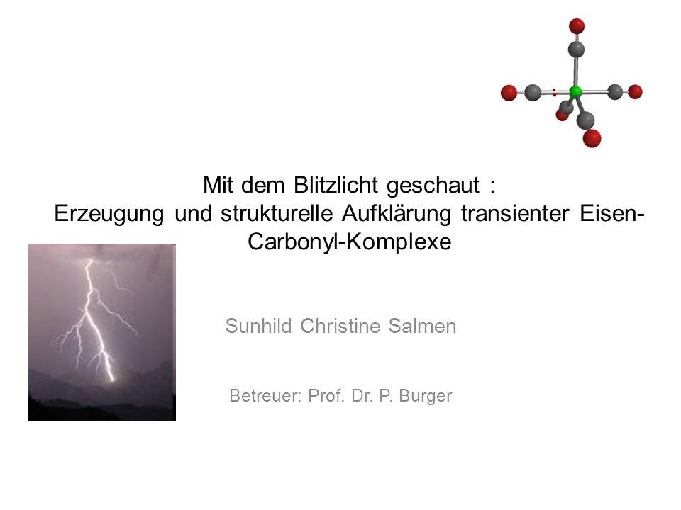 Mit dem Blitzlicht geschaut : Erzeugung und strukturelle Aufklärung transienter Eisen- Carbonyl-Komplexe Sunhild Christine Salmen Betreuer: Prof.