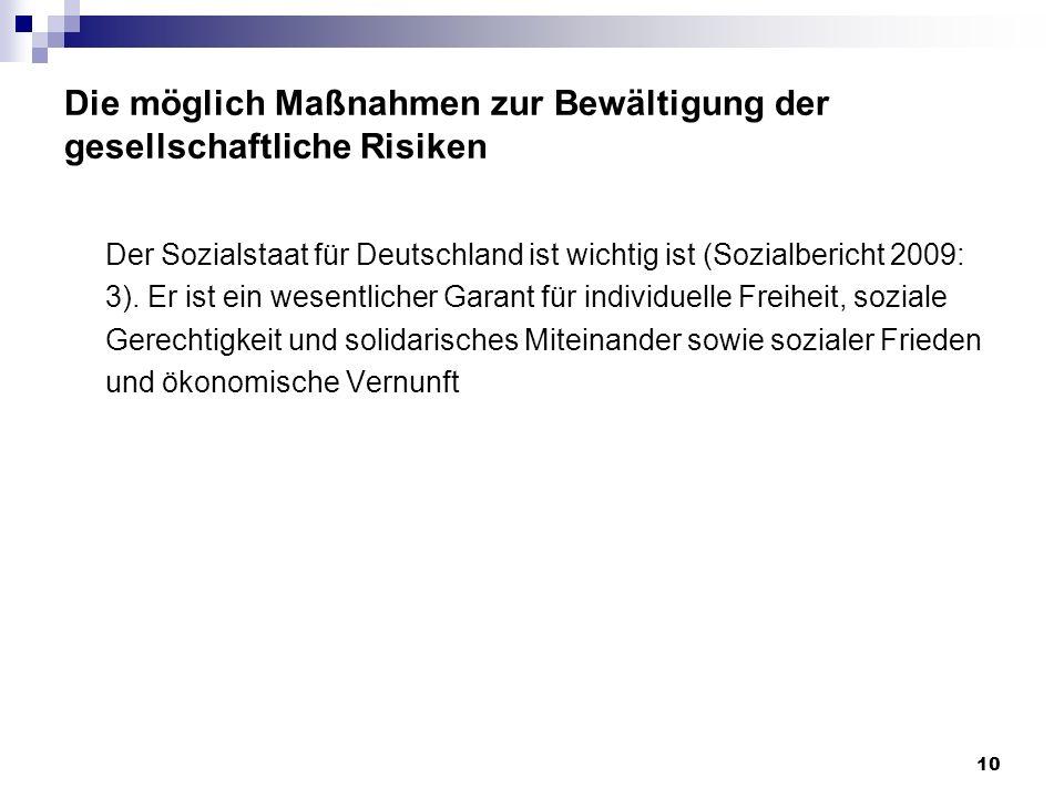Die möglich Maßnahmen zur Bewältigung der gesellschaftliche Risiken Der Sozialstaat für Deutschland ist wichtig ist (Sozialbericht 2009: 3). Er ist ei