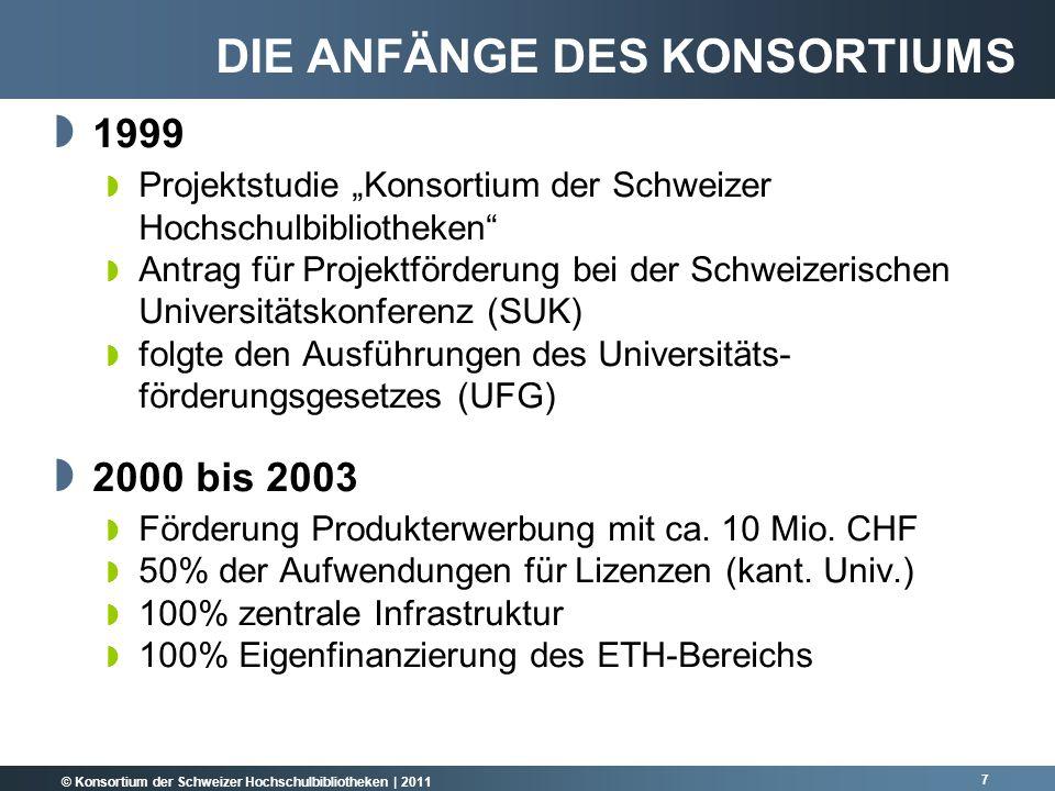 © Konsortium der Schweizer Hochschulbibliotheken | 2011 8 2004 bis 2005 Verlängerung der Förderperiode um 2 Jahre durch die Schweizerische Universitätskonferenz (SUK) Weitere 4 Mio.
