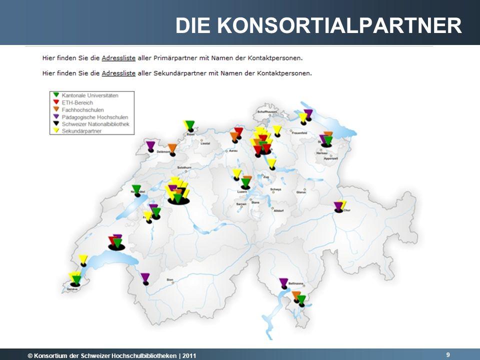 © Konsortium der Schweizer Hochschulbibliotheken | 2011 10 2011 = 53 KONSORTIALPARTNER