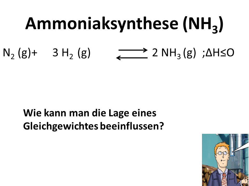 Ammoniaksynthese (NH 3 ) N 2 (g)+ 3 H 2 (g) 2 NH 3 (g) ;HO Wie kann man die Lage eines Gleichgewichtes beeinflussen?