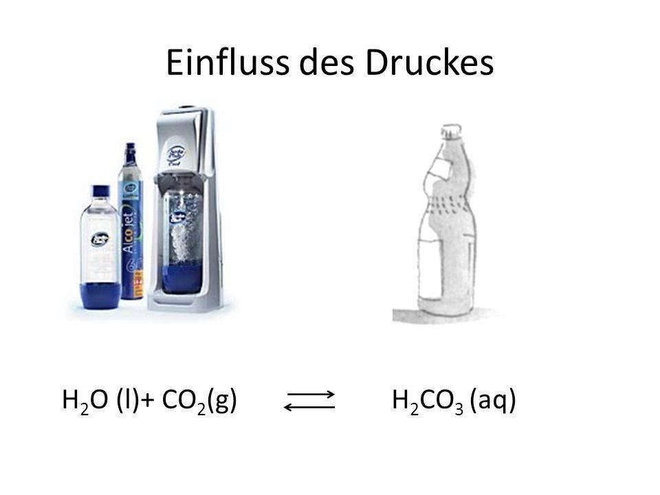 Einfluss des Druckes H 2 O (l)+ CO 2 (g)H 2 CO 3 (aq)