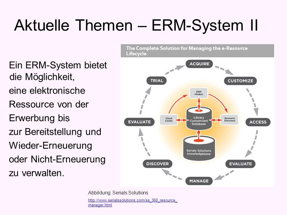 Ein ERM-System bietet die Möglichkeit, eine elektronische Ressource von der Erwerbung bis zur Bereitstellung und Wieder-Erneuerung oder Nicht-Erneuerung zu verwalten.