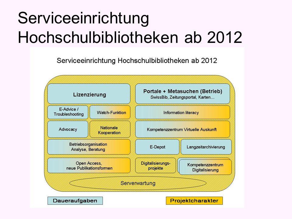 Serviceeinrichtung Hochschulbibliotheken ab 2012