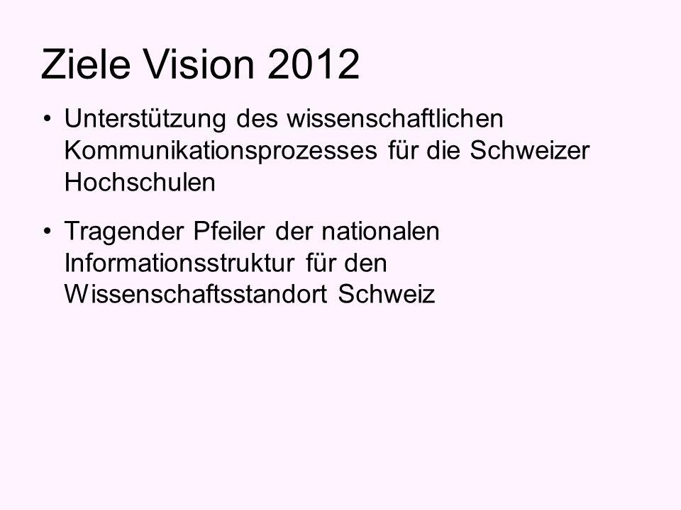 Ziele Vision 2012 Unterstützung des wissenschaftlichen Kommunikationsprozesses für die Schweizer Hochschulen Tragender Pfeiler der nationalen Informationsstruktur für den Wissenschaftsstandort Schweiz