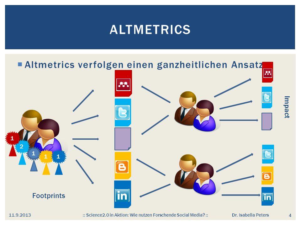 ALTMETRICS 4 Altmetrics verfolgen einen ganzheitlichen Ansatz 1 2 11 1 11.9.2013 :: Science2.0 in Aktion: Wie nutzen Forschende Social Media.