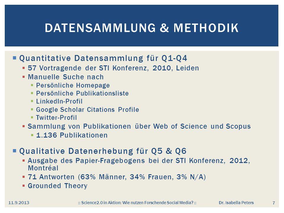 Welche Informationen veröffentlichen WissenschaftlerInnen im (Social) Web.