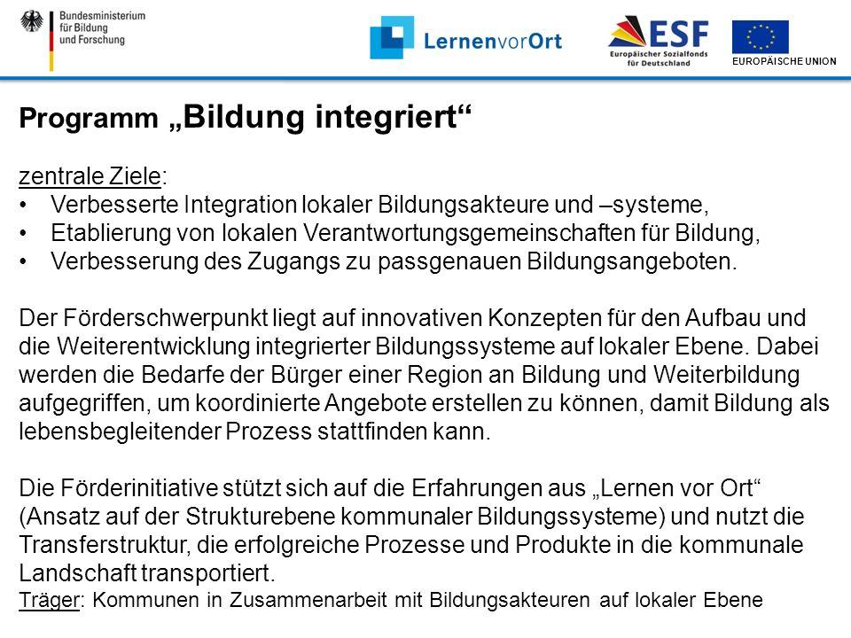 EUROPÄISCHE UNION Programm Bildung integriert zentrale Ziele: Verbesserte Integration lokaler Bildungsakteure und –systeme, Etablierung von lokalen Ve