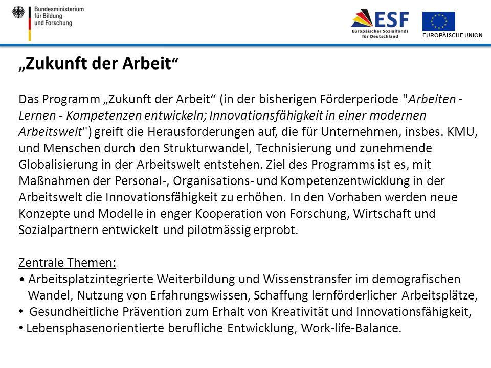 EUROPÄISCHE UNION Zukunft der Arbeit Das Programm Zukunft der Arbeit (in der bisherigen Förderperiode